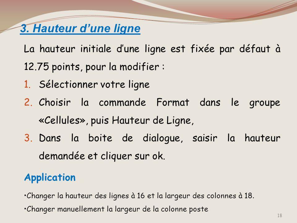 2. Largeur de colonne La largeur initiale dune colonne est de 10.71 caractères, pour la modifier : 1.Sélectionner votre colonne 2.Choisir la commande