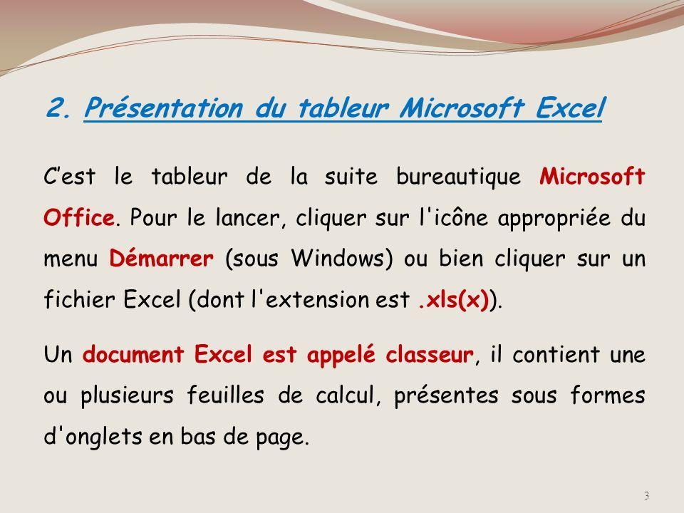 1. Définition Un tableur est un logiciel permettant de manipuler des données numériques et d'effectuer automatiquement des calculs sur des nombres sto