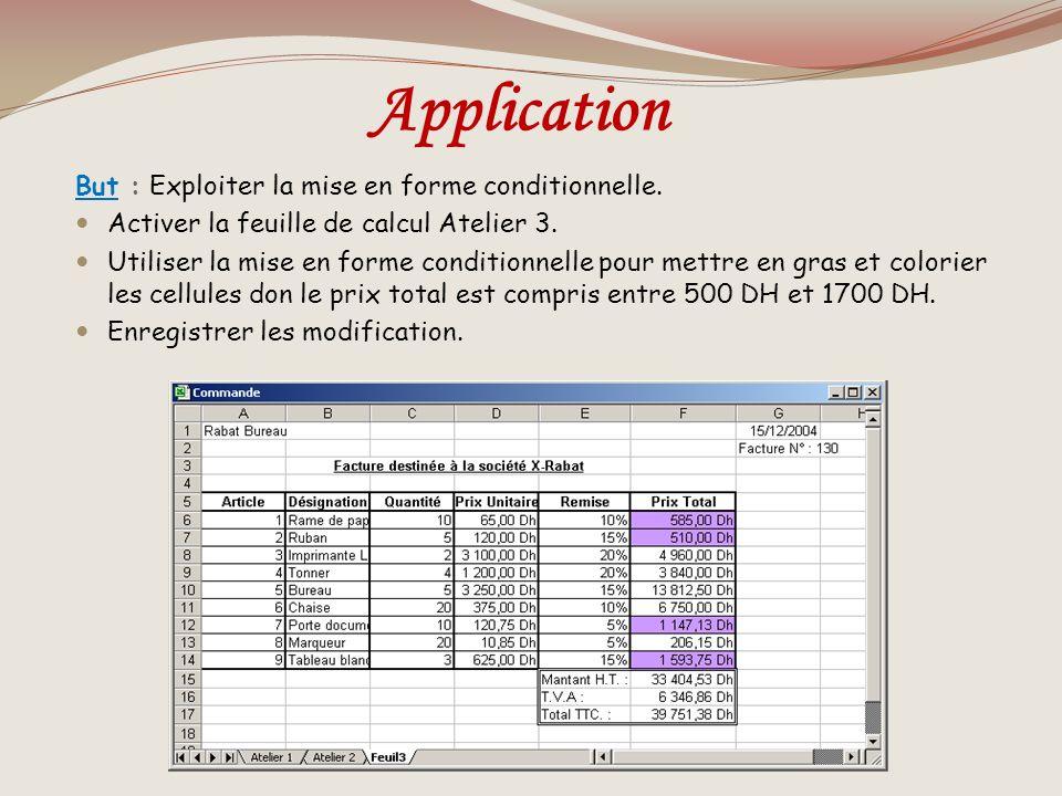 Les formats conditionnelles La mise en forme conditionnelle met en évidence des données dynamiques que lon veut observer. Constituent les formats choi