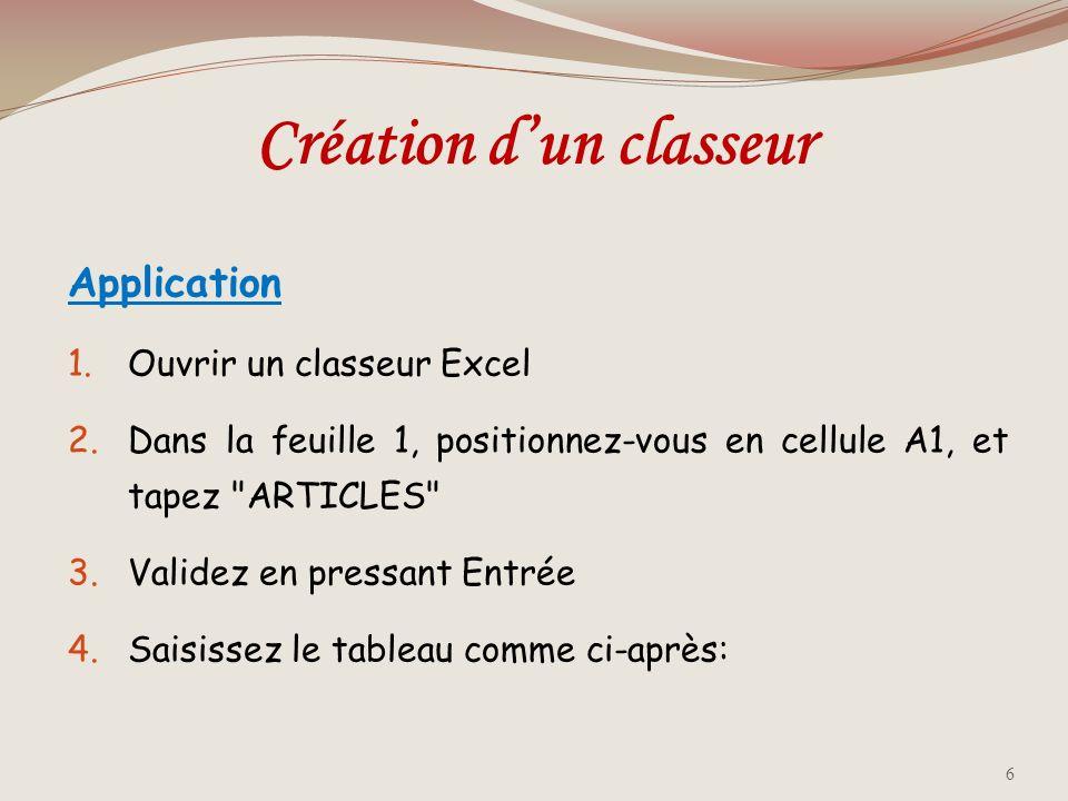 Application 1.Ouvrir un classeur Excel 2.Dans la feuille 1, positionnez-vous en cellule A1, et tapez ARTICLES 3.Validez en pressant Entrée 4.Saisissez le tableau comme ci-après: Création dun classeur 6