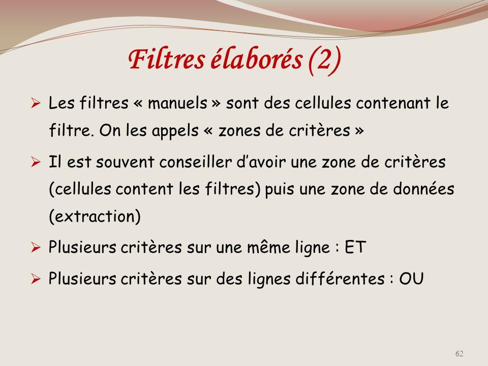 Filtres élaborés (1) La grande différence entre un filtre automatique et un filtre élaboré est que ce dernier doit être saisi manuellement, et utilise