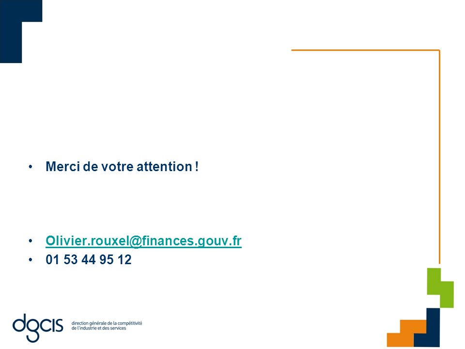 Merci de votre attention ! Olivier.rouxel@finances.gouv.fr 01 53 44 95 12