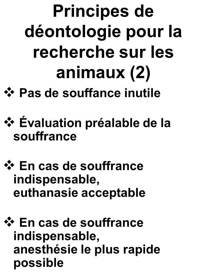Principes de déontologie pour la recherche sur les animaux (2) Pas de souffance inutile Évaluation préalable de la souffrance En cas de souffrance ind