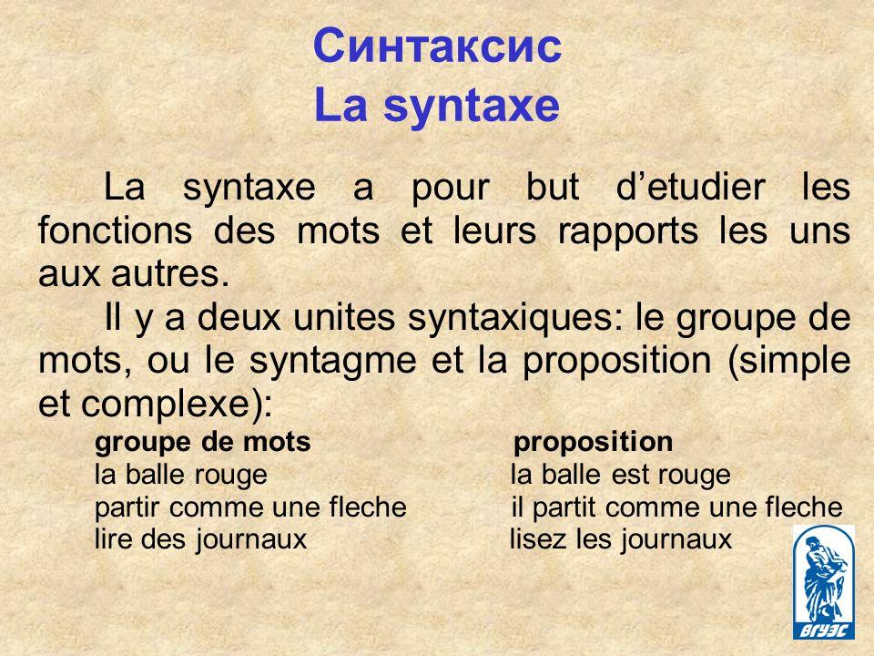 Синтаксис La syntaxe La syntaxe a pour but detudier les fonctions des mots et leurs rapports les uns aux autres.