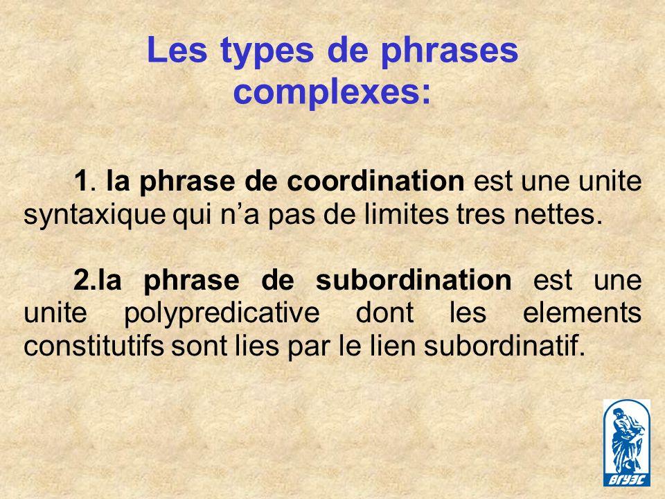 Les types de phrases complexes: 1.