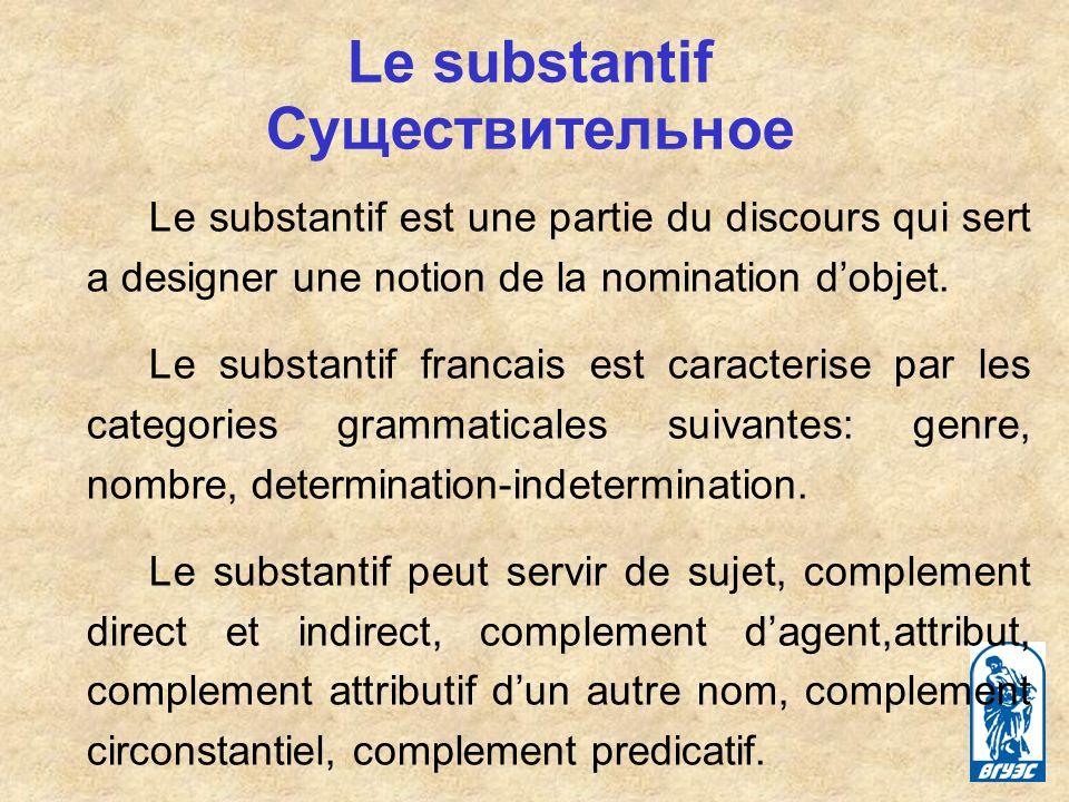 Le substantif est une partie du discours qui sert a designer une notion de la nomination dobjet.