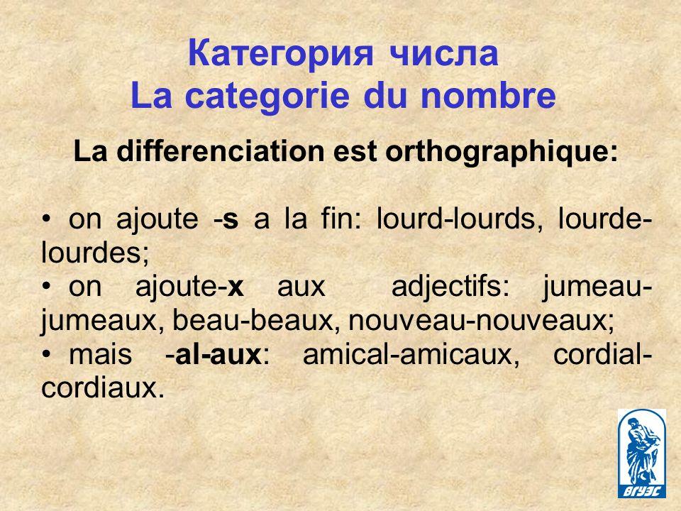 Категория числа La categorie du nombre La differenciation est orthographique: on ajoute -s a la fin: lourd-lourds, lourde- lourdes; on ajoute-x aux adjectifs: jumeau- jumeaux, beau-beaux, nouveau-nouveaux; mais -al-aux: amical-amicaux, cordial- cordiaux.