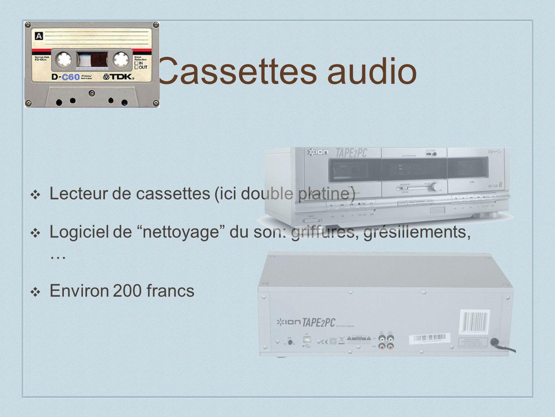 Cassettes audio Lecteur de cassettes (ici double platine) Logiciel de nettoyage du son: griffures, grésillements, … Environ 200 francs