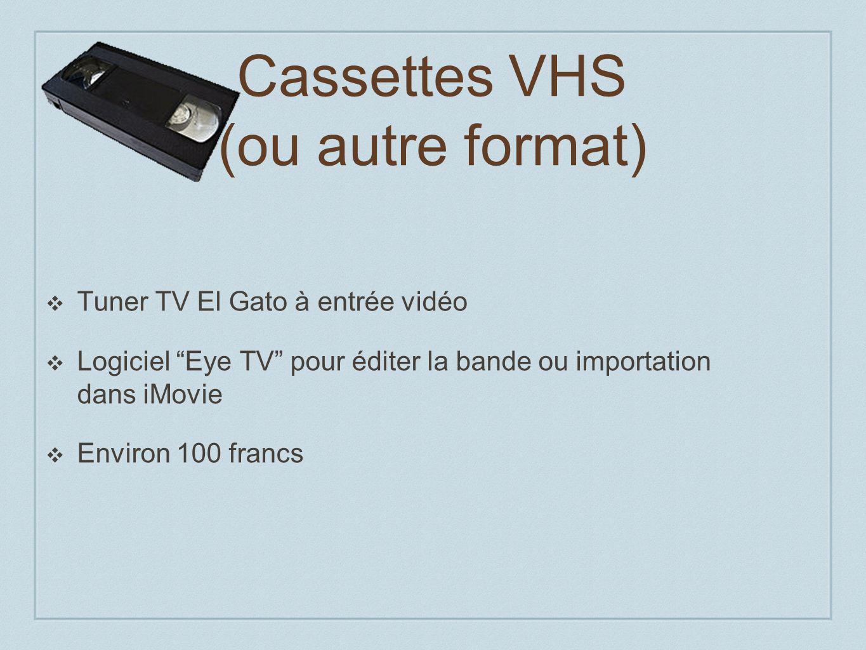 Cassettes VHS (ou autre format) Tuner TV El Gato à entrée vidéo Logiciel Eye TV pour éditer la bande ou importation dans iMovie Environ 100 francs