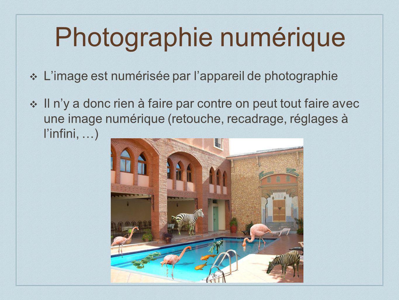 Photographie numérique Limage est numérisée par lappareil de photographie Il ny a donc rien à faire par contre on peut tout faire avec une image numérique (retouche, recadrage, réglages à linfini, …)