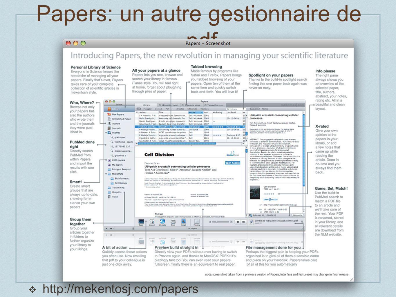 Papers: un autre gestionnaire de.pdf http://mekentosj.com/papers