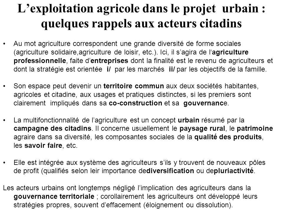 Lexploitation agricole dans le projet urbain : quelques rappels aux acteurs citadins Au mot agriculture correspondent une grande diversité de forme sociales (agriculture solidaire,agriculture de loisir, etc.).