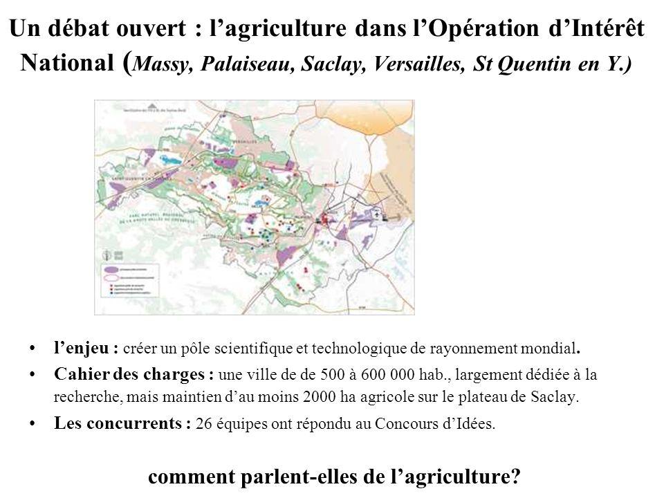 Un débat ouvert : lagriculture dans lOpération dIntérêt National ( Massy, Palaiseau, Saclay, Versailles, St Quentin en Y.) lenjeu : créer un pôle scientifique et technologique de rayonnement mondial.
