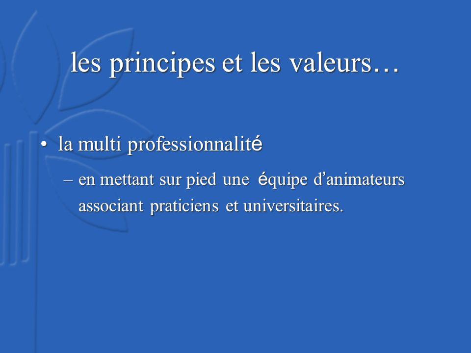 les principes et les valeurs … la multi professionnalit éla multi professionnalit é –en mettant sur pied une é quipe d animateurs associant praticiens et universitaires.