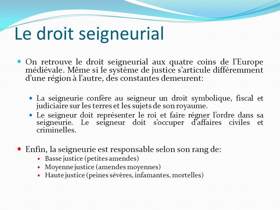 Les trois niveaux de justice seigneuriale 1.
