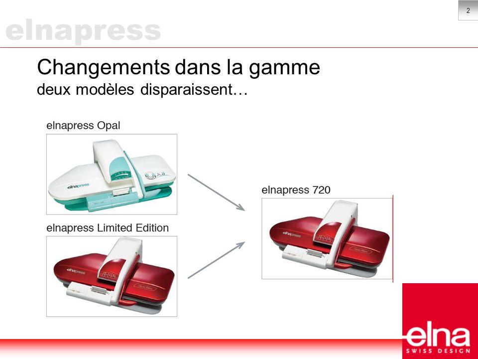 3 Changements dans la gamme …et deux nouvelles elnapress sont lancées sur le marché elnapress