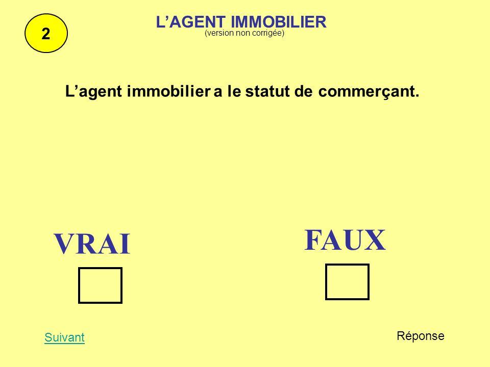 Le baccalauréat est un diplôme suffisant pour ouvrir une agence immobilière 3 Suivant Réponse FAUX VRAI http://www.net-iris.fr/lexique-juridique/lettre-M.php LAGENT IMMOBILIER (version non corrigée)