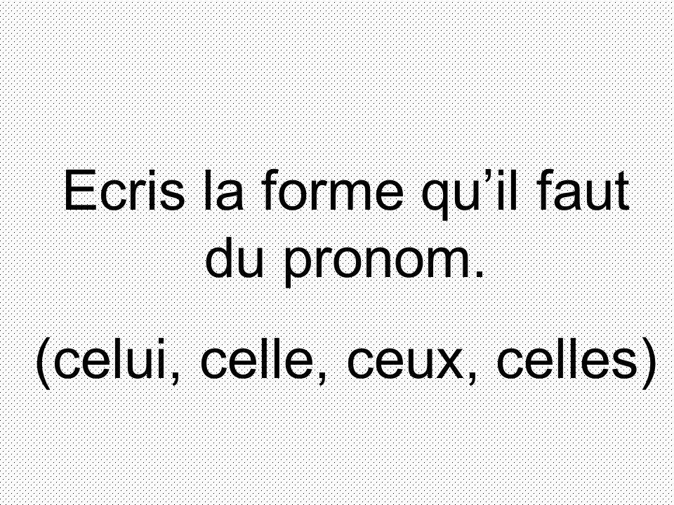Ecris la forme quil faut du pronom. (celui, celle, ceux, celles)