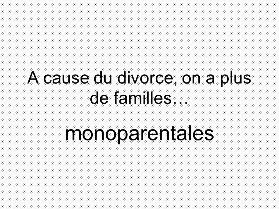 A cause du divorce, on a plus de familles… monoparentales