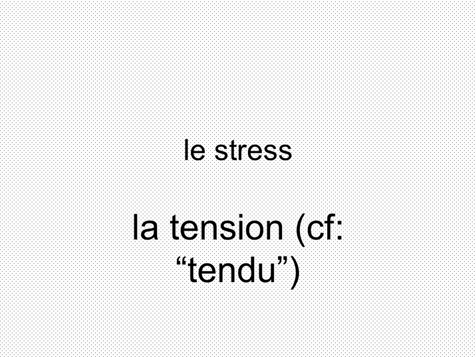 le stress la tension (cf: tendu)