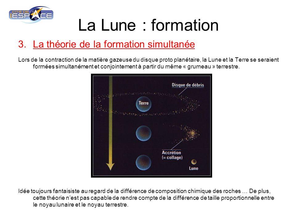 La Lune : formation 3.La théorie de la formation simultanée Lors de la contraction de la matière gazeuse du disque proto planétaire, la Lune et la Ter