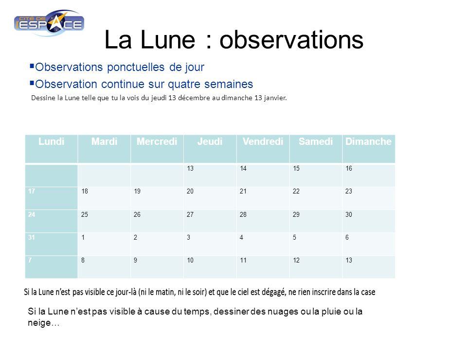 La Lune : observations Observations ponctuelles de jour Observation continue sur quatre semaines LundiMardiMercrediJeudiVendrediSamediDimanche 1314151