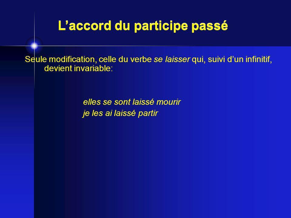 Seule modification, celle du verbe se laisser qui, suivi dun infinitif, devient invariable: elles se sont laissé mourir je les ai laissé partir Laccor