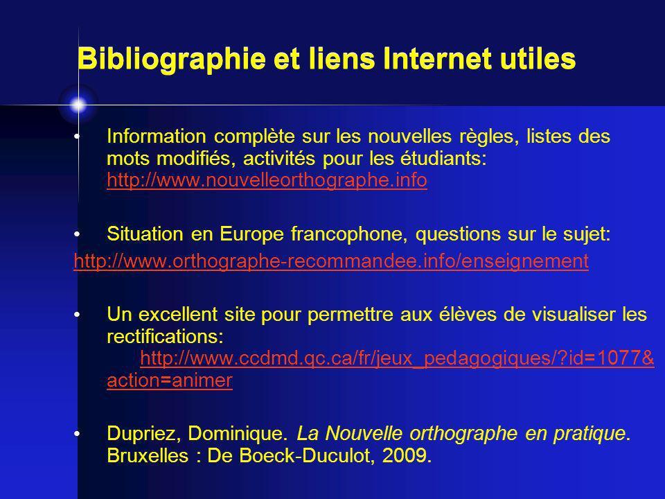 Information complète sur les nouvelles règles, listes des mots modifiés, activités pour les étudiants: http://www.nouvelleorthographe.info http://www.nouvelleorthographe.info Situation en Europe francophone, questions sur le sujet: http://www.orthographe-recommandee.info/enseignement Un excellent site pour permettre aux élèves de visualiser les rectifications: http://www.ccdmd.qc.ca/fr/jeux_pedagogiques/?id=1077& action=animer http://www.ccdmd.qc.ca/fr/jeux_pedagogiques/?id=1077& action=animer Dupriez, Dominique.