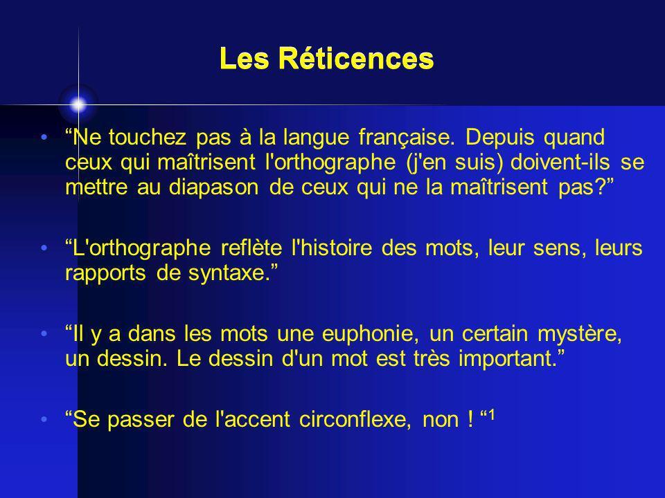 Ne touchez pas à la langue française. Depuis quand ceux qui maîtrisent l'orthographe (j'en suis) doivent-ils se mettre au diapason de ceux qui ne la m