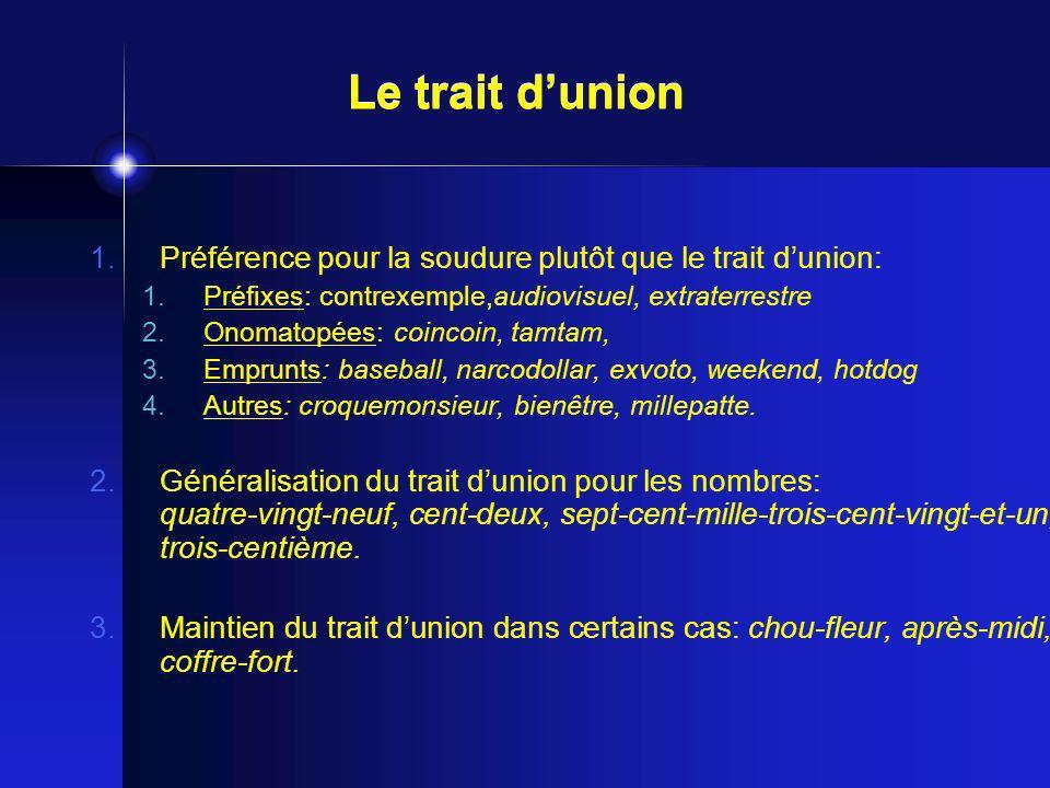 1.Préférence pour la soudure plutôt que le trait dunion: 1.Préfixes: contrexemple,audiovisuel, extraterrestre 2.Onomatopées: coincoin, tamtam, 3.Empru