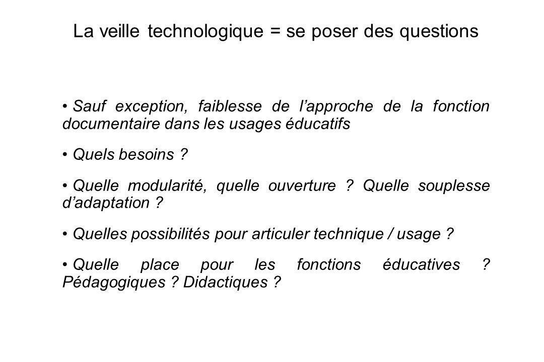 4 La veille technologique = se poser des questions Sauf exception, faiblesse de lapproche de la fonction documentaire dans les usages éducatifs Quels besoins .