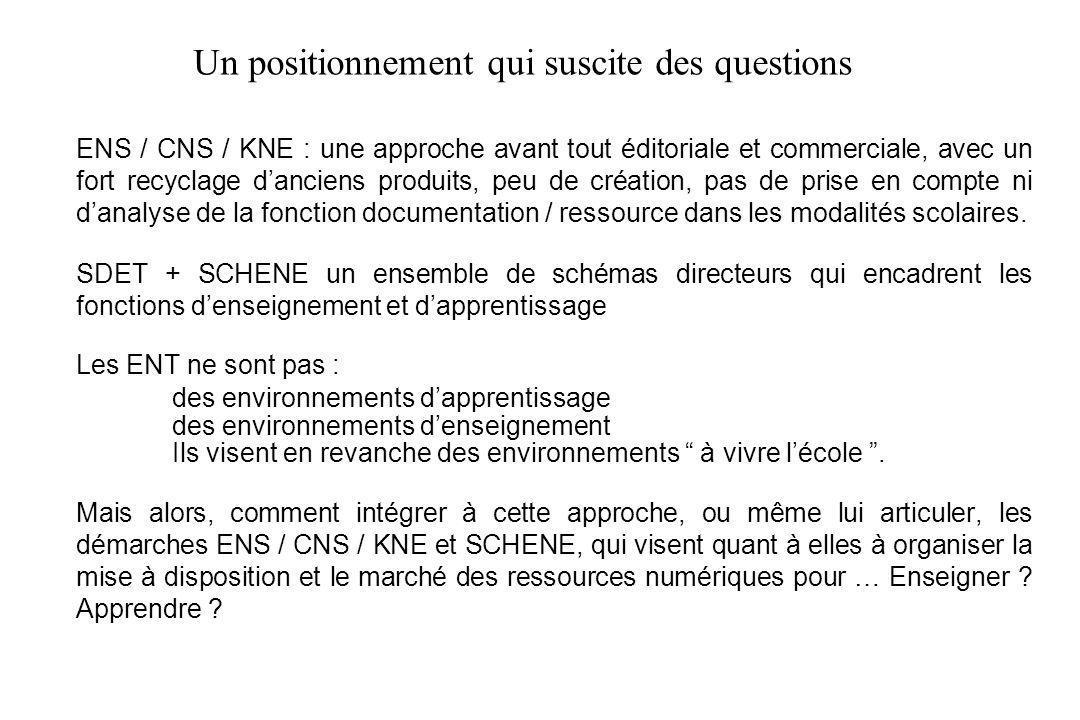 5 ENS / CNS / KNE : une approche avant tout éditoriale et commerciale, avec un fort recyclage danciens produits, peu de création, pas de prise en compte ni danalyse de la fonction documentation / ressource dans les modalités scolaires.