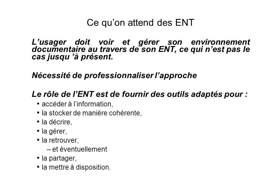 8 Ce quon attend des ENT Lusager doit voir et gérer son environnement documentaire au travers de son ENT, ce qui nest pas le cas jusqu à présent.