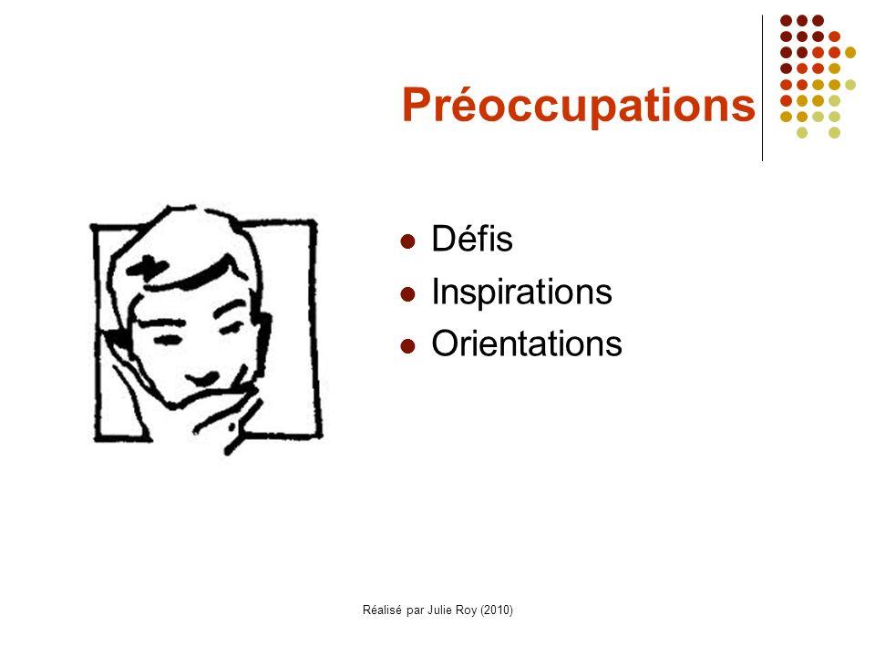 Réalisé par Julie Roy (2010) Préoccupations Défis Inspirations Orientations