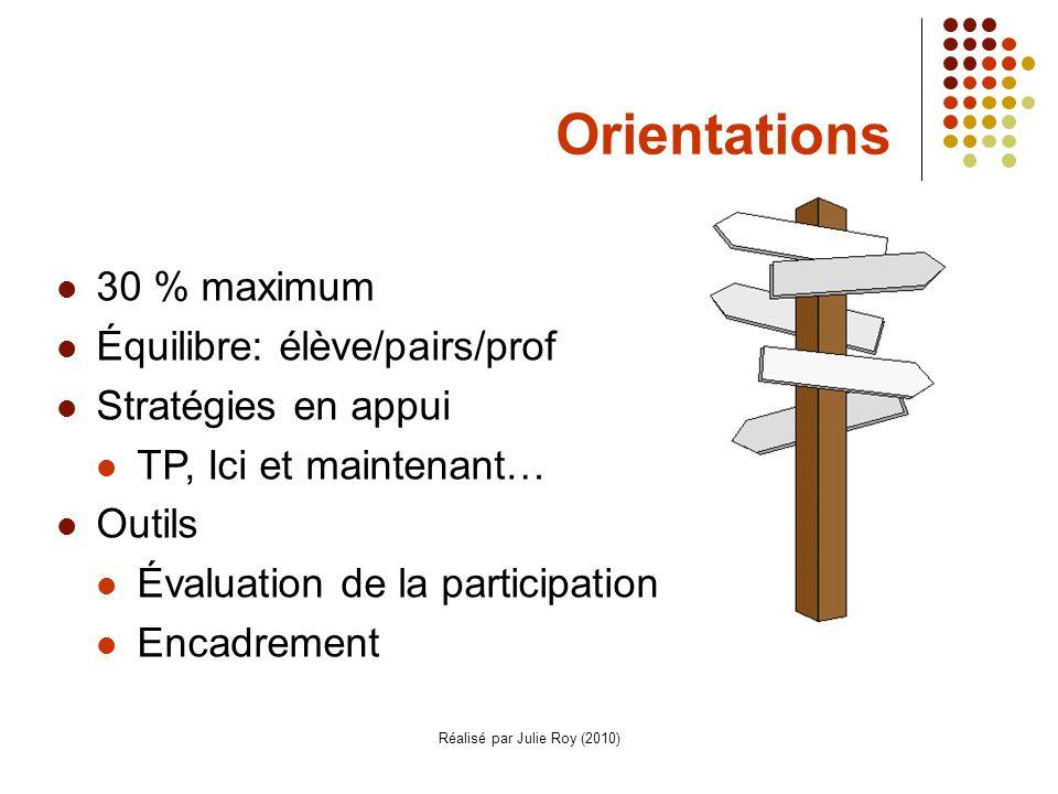 Réalisé par Julie Roy (2010) Orientations 30 % maximum Équilibre: élève/pairs/prof Stratégies en appui TP, Ici et maintenant… Outils Évaluation de la participation Encadrement