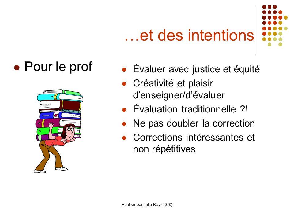 Réalisé par Julie Roy (2010) …et des intentions Évaluer avec justice et équité Créativité et plaisir denseigner/dévaluer Évaluation traditionnelle ?.