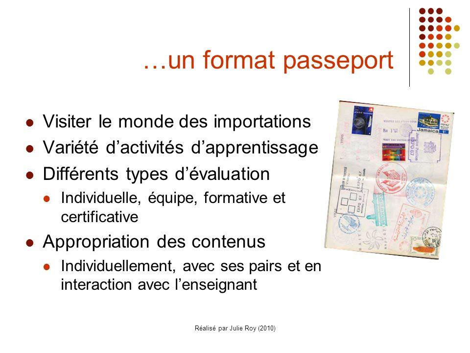 Réalisé par Julie Roy (2010) …un format passeport Visiter le monde des importations Variété dactivités dapprentissage Différents types dévaluation Individuelle, équipe, formative et certificative Appropriation des contenus Individuellement, avec ses pairs et en interaction avec lenseignant