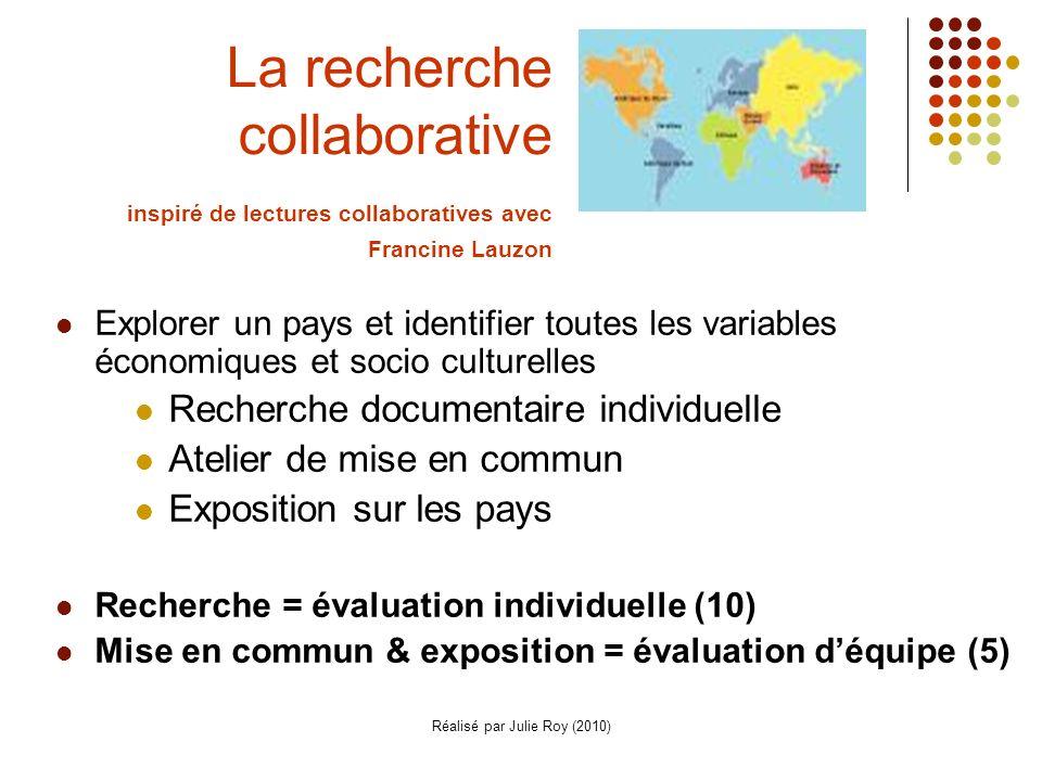 Réalisé par Julie Roy (2010) La recherche collaborative inspiré de lectures collaboratives avec Francine Lauzon Explorer un pays et identifier toutes