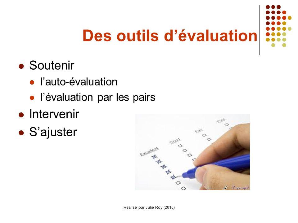 Réalisé par Julie Roy (2010) Des outils dévaluation Soutenir lauto-évaluation lévaluation par les pairs Intervenir Sajuster