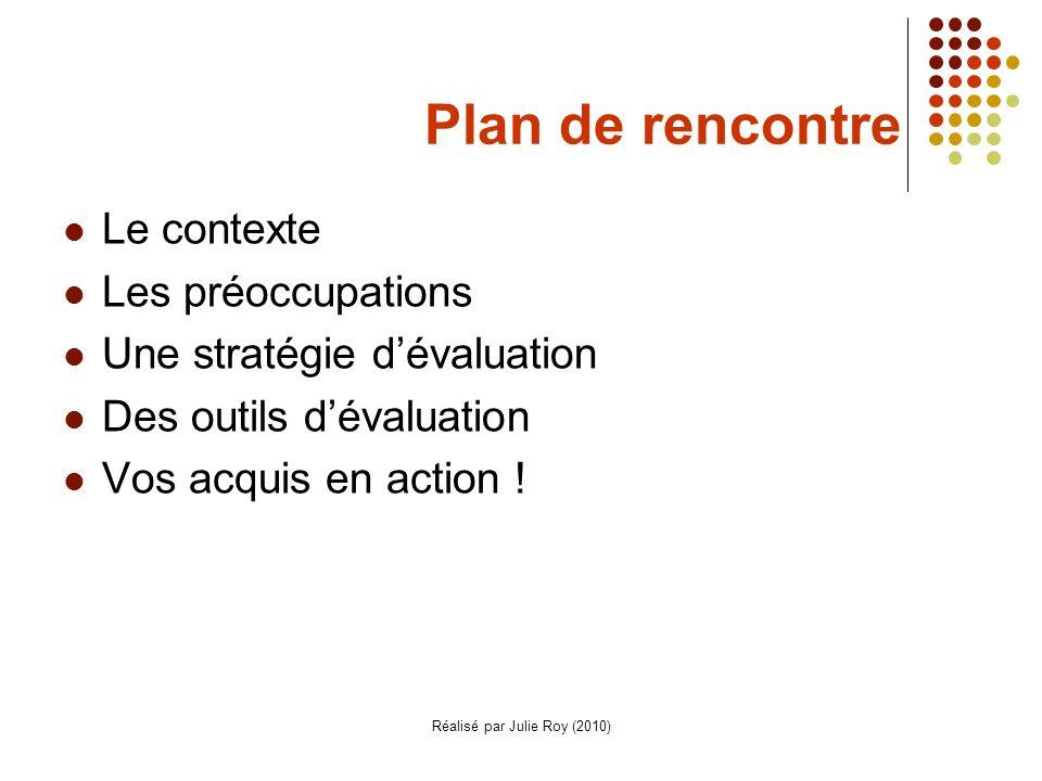 Réalisé par Julie Roy (2010) Plan de rencontre Le contexte Les préoccupations Une stratégie dévaluation Des outils dévaluation Vos acquis en action !