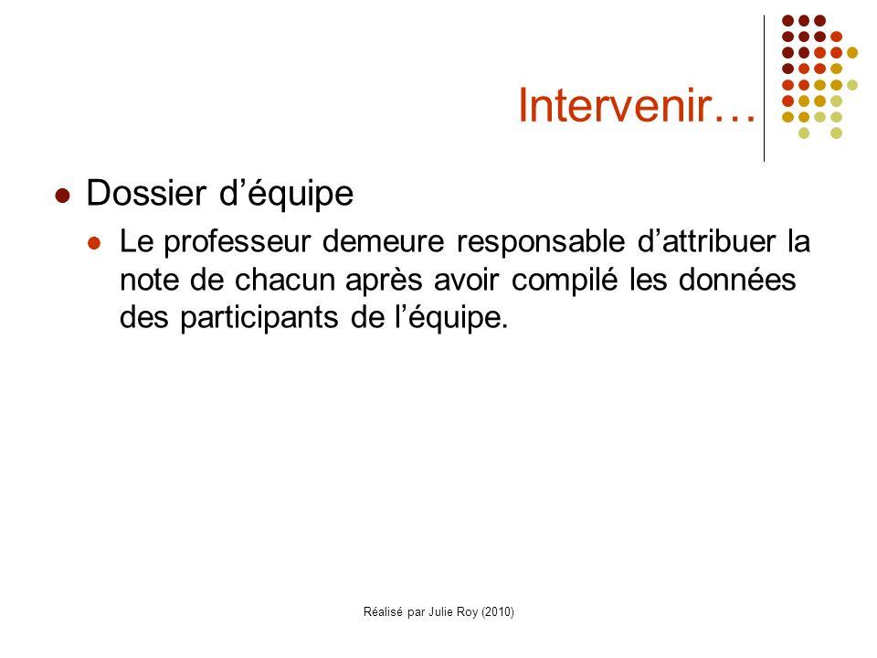 Réalisé par Julie Roy (2010) Intervenir… Dossier déquipe Le professeur demeure responsable dattribuer la note de chacun après avoir compilé les données des participants de léquipe.