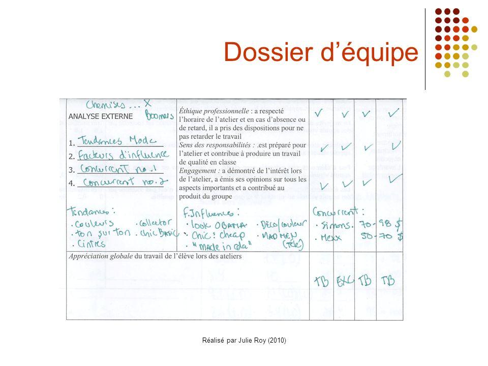 Réalisé par Julie Roy (2010) Dossier déquipe