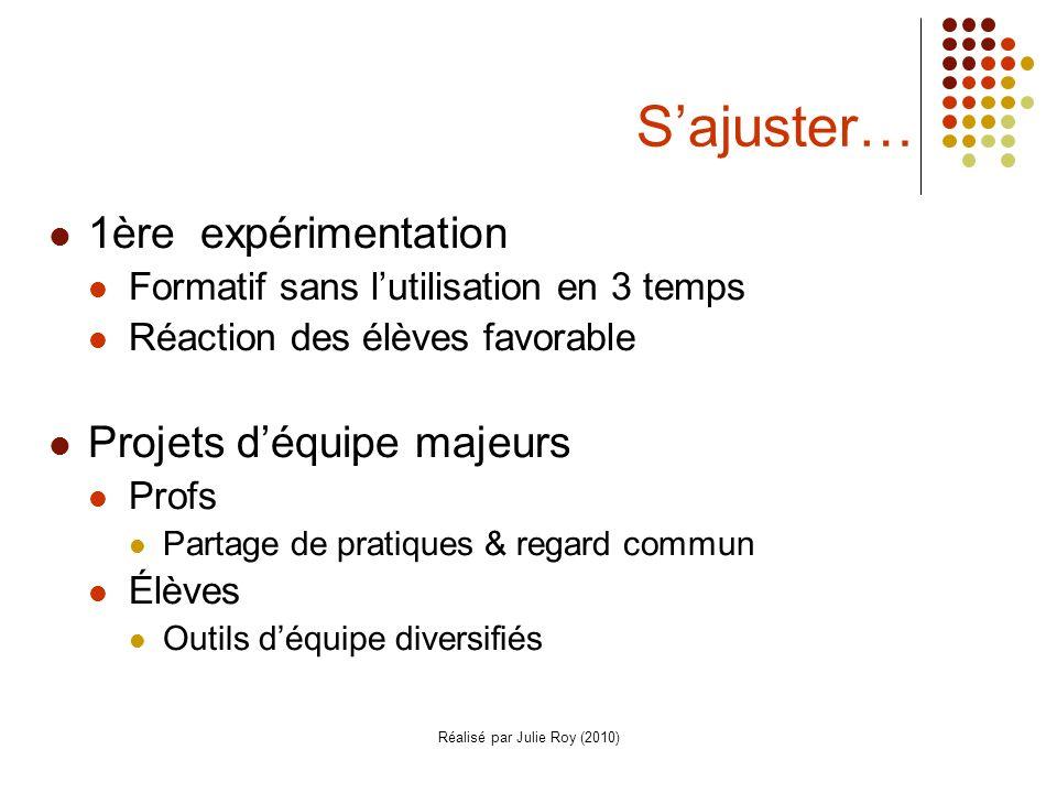 Réalisé par Julie Roy (2010) Sajuster… 1ère expérimentation Formatif sans lutilisation en 3 temps Réaction des élèves favorable Projets déquipe majeur