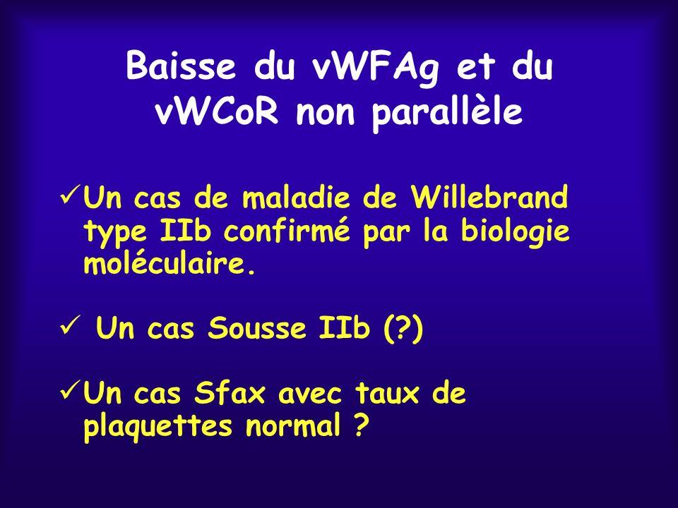 Baisse du vWFAg et du vWCoR non parallèle Un cas de maladie de Willebrand type IIb confirmé par la biologie moléculaire. Un cas Sousse IIb (?) Un cas