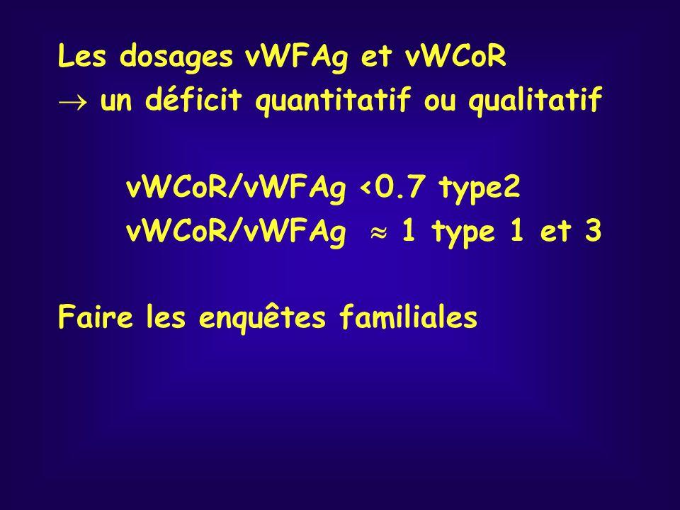 Les dosages vWFAg et vWCoR un déficit quantitatif ou qualitatif vWCoR/vWFAg <0.7 type2 vWCoR/vWFAg 1 type 1 et 3 Faire les enquêtes familiales