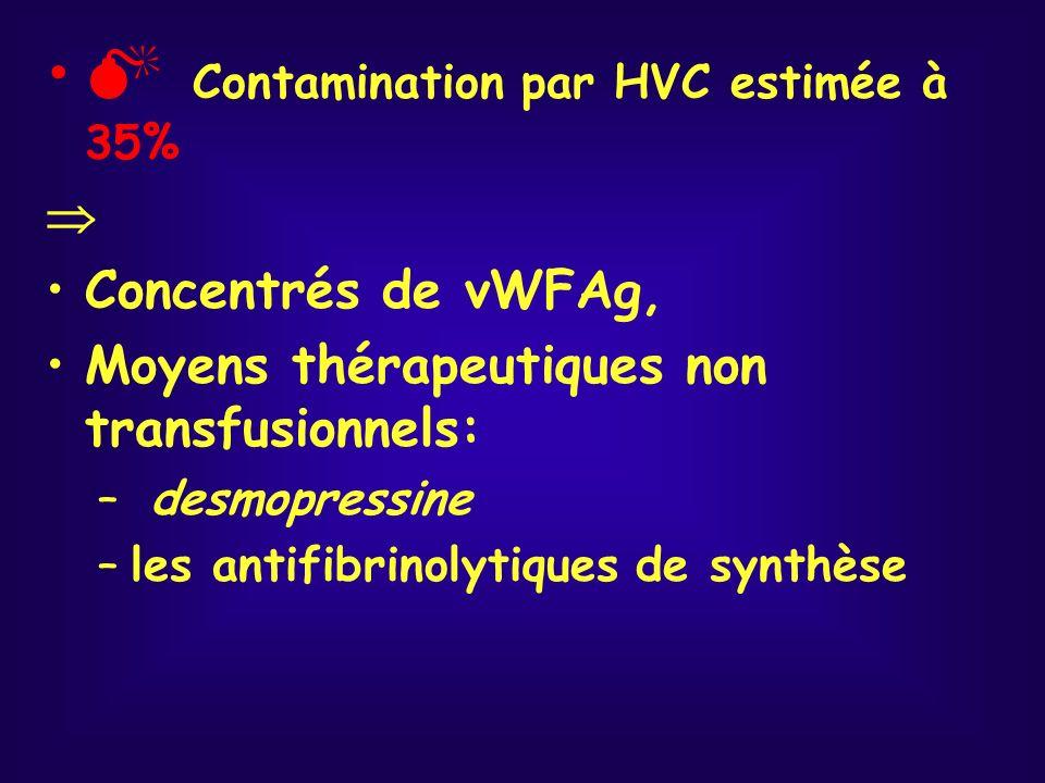 Contamination par HVC estimée à 35% Concentrés de vWFAg, Moyens thérapeutiques non transfusionnels: – desmopressine –les antifibrinolytiques de synthè