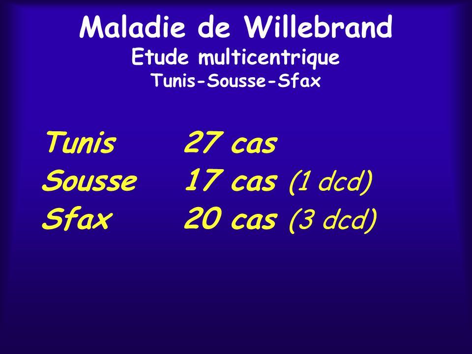 Maladie de Willebrand Etude multicentrique Tunis-Sousse-Sfax Tunis27 cas Sousse17 cas (1 dcd) Sfax20 cas (3 dcd)
