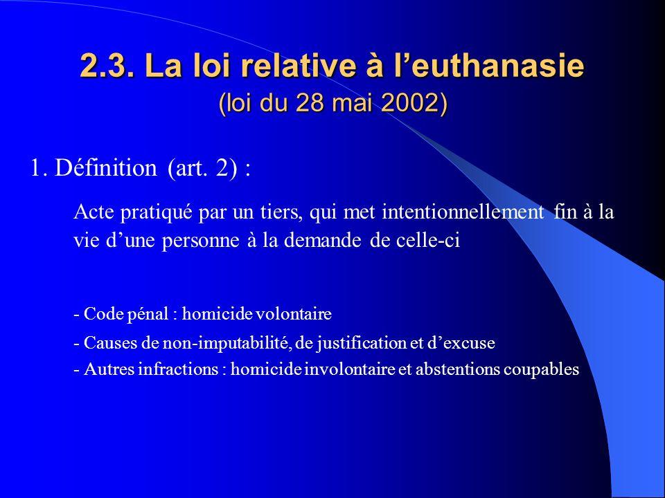 2.3. La loi relative à leuthanasie (loi du 28 mai 2002) 1. Définition (art. 2) : Acte pratiqué par un tiers, qui met intentionnellement fin à la vie d