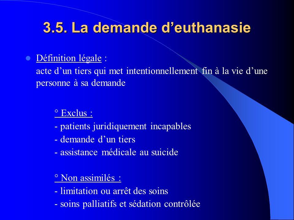 3.5. La demande deuthanasie Définition légale : acte dun tiers qui met intentionnellement fin à la vie dune personne à sa demande ° Exclus : - patient