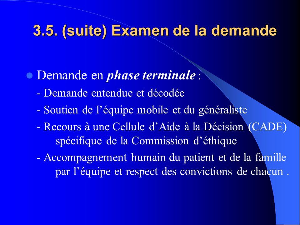 3.5. (suite) Examen de la demande Demande en phase terminale : - Demande entendue et décodée - Soutien de léquipe mobile et du généraliste - Recours à